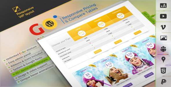レスポンシブなプライステーブルを実装するGo – Responsive Pricing & Compare Tables for WPを導入しました